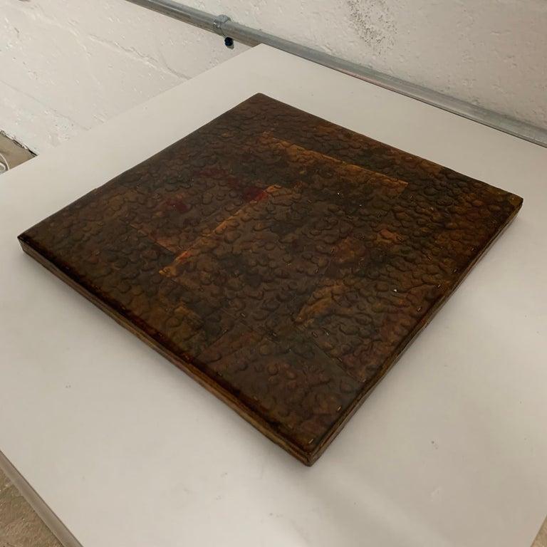 Paul Evans Style Brutalist Patchwork Copper, Brass, and Steel Trivet or Riser For Sale 3