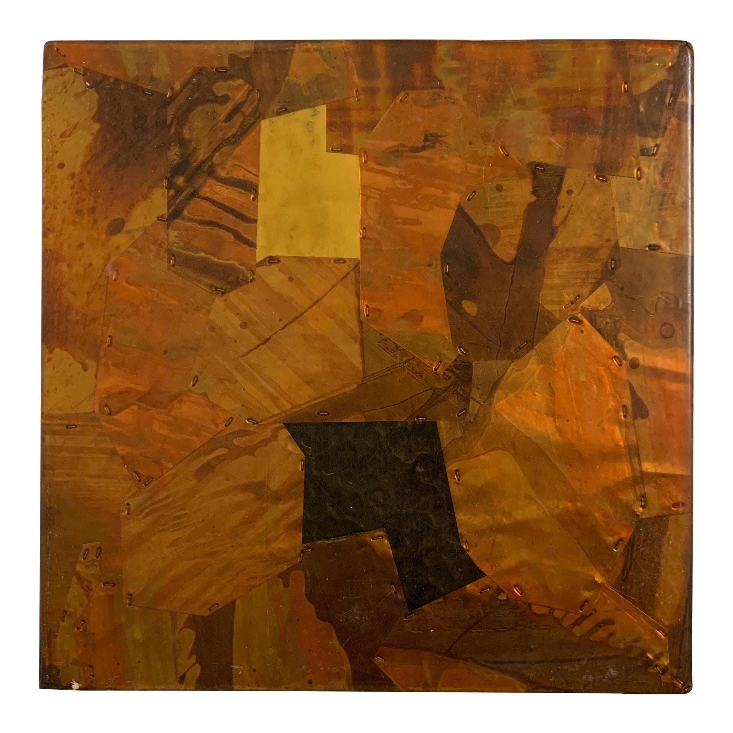Paul Evans Style Brutalist Patchwork Copper, Brass, and Steel Trivet or Riser