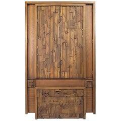 Paul Evans Style Brutalist Wardrobe by Lane Furniture