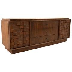 Paul Evans Style Canadian Brutalist Mid Century Walnut 9 Drawer Lowboy Dresser