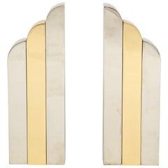 Paul Evans Style Chrome, Brass Andirons