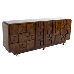 Paul Evans Style Lane Brutalist Mid Century Walnut Lowboy Dresser