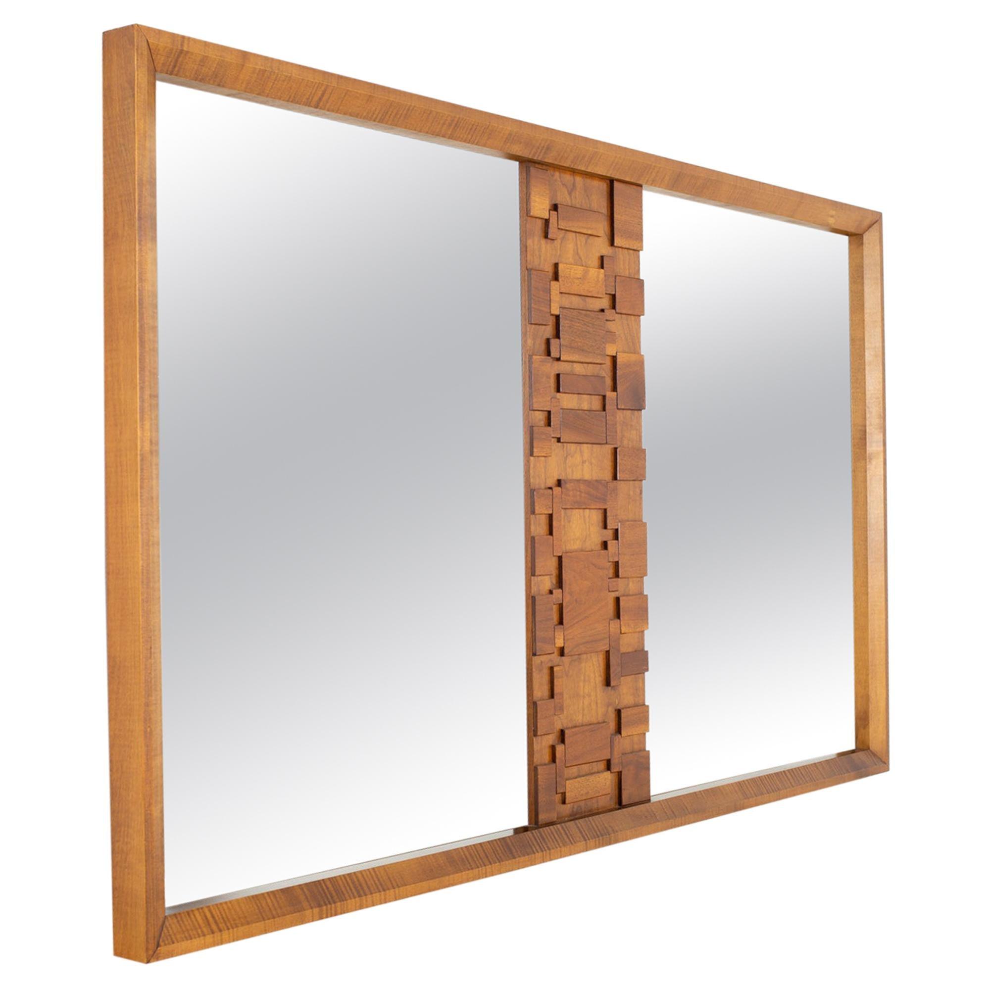 Paul Evans Style Lane Brutalist Mid Century Walnut Mirror