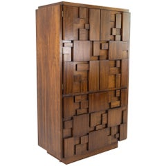 Paul Evans Style Lane Brutalist Midcentury Highboy Armoire Chest