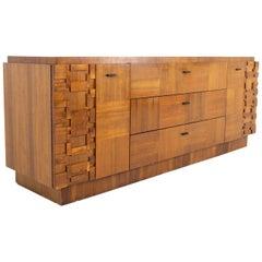 Paul Evans Style Lane Brutalist Midcentury Walnut 9 Drawer Lowboy Dresser