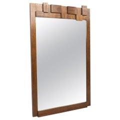 Paul Evans Style Lane Mid Century Brutalist Walnut Mirror