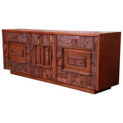 Paul Evans Style Lane Pueblo Brutalist Mid-Century Modern Long Dresser, Restored