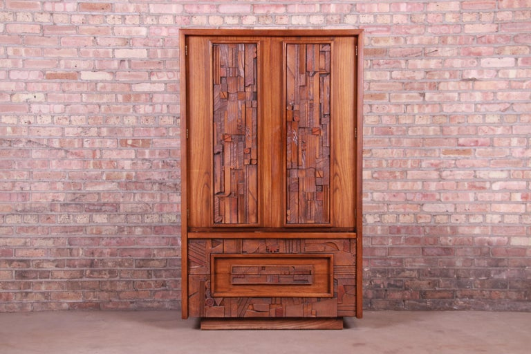 An exceptional Paul Evans style Mid-Century Modern Brutalist oak armoire dresser  By Lane Furniture