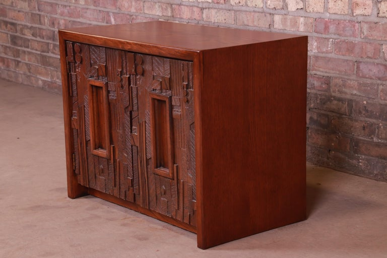 An exceptional Mid-Century Modern Brutalist oak nightstand or side table