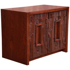 Paul Evans Style Lane Pueblo Brutalist Mid-Century Modern Oak Nightstand