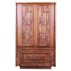 Paul Evans Style Lane Pueblo Brutalist Oak Armoire Dresser, 1970s