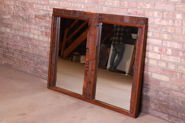 An exceptional Paul Evans style Mid-Century Modern Brutalist oak framed double mirror  By Lane Furniture