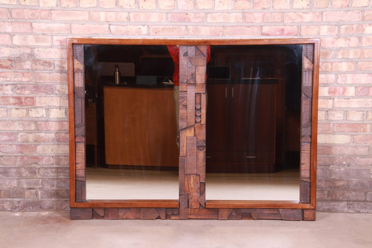 An exceptional Paul Evans style Mid-Century Modern Brutalist oak framed double mirror