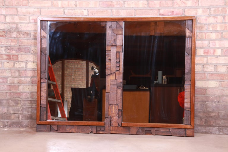 Mid-Century Modern Paul Evans Style Lane Pueblo Brutalist Oak Framed Double Mirror, 1970s For Sale