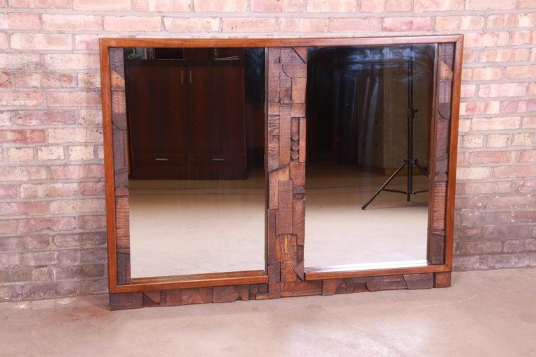 American Paul Evans Style Lane Pueblo Brutalist Oak Framed Double Mirror, 1970s For Sale