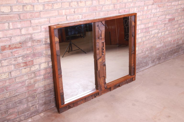Paul Evans Style Lane Pueblo Brutalist Oak Framed Double Mirror, 1970s In Good Condition For Sale In South Bend, IN