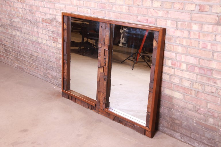 Late 20th Century Paul Evans Style Lane Pueblo Brutalist Oak Framed Double Mirror, 1970s For Sale