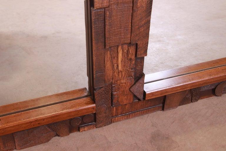 Paul Evans Style Lane Pueblo Brutalist Oak Framed Double Mirror, 1970s For Sale 2