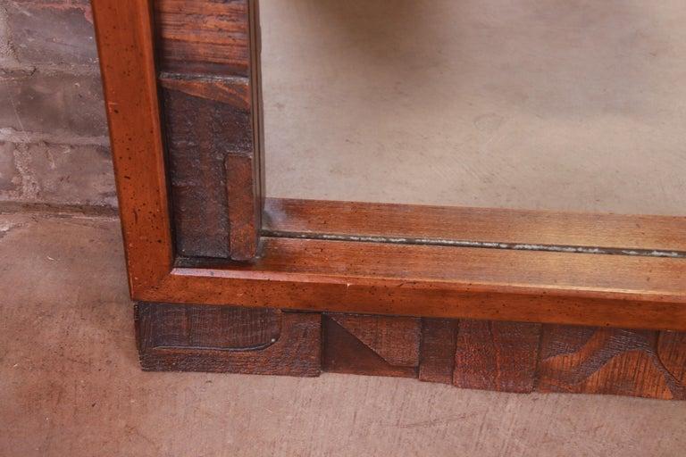 Paul Evans Style Lane Pueblo Brutalist Oak Framed Double Mirror, 1970s For Sale 3