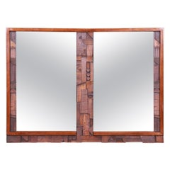 Paul Evans Style Lane Pueblo Brutalist Oak Framed Double Mirror, 1970s