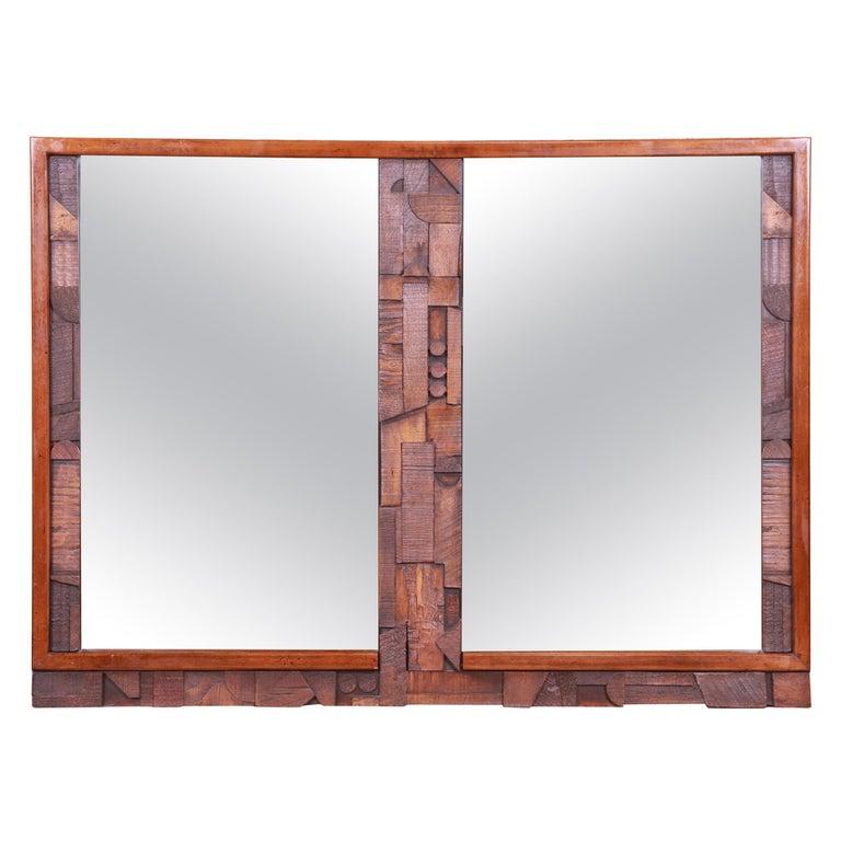 Paul Evans Style Lane Pueblo Brutalist Oak Framed Double Mirror, 1970s For Sale