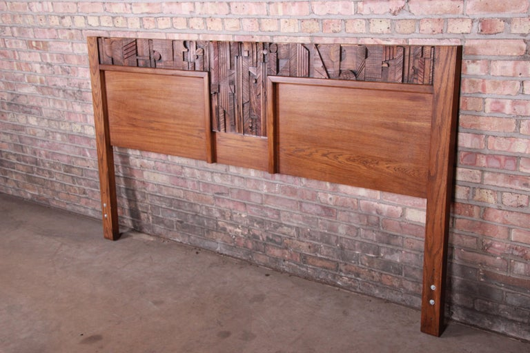 An exceptional Paul Evans style Mid-Century Modern Brutalist king size headboard