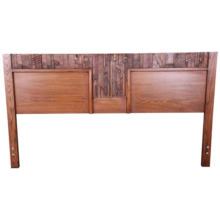 Paul Evans Style Lane Pueblo Brutalist Oak King Size Headboard, 1970s