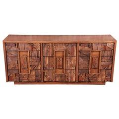 Paul Evans Style Lane Pueblo Brutalist Oak Long Dresser or Credenza, 1970s