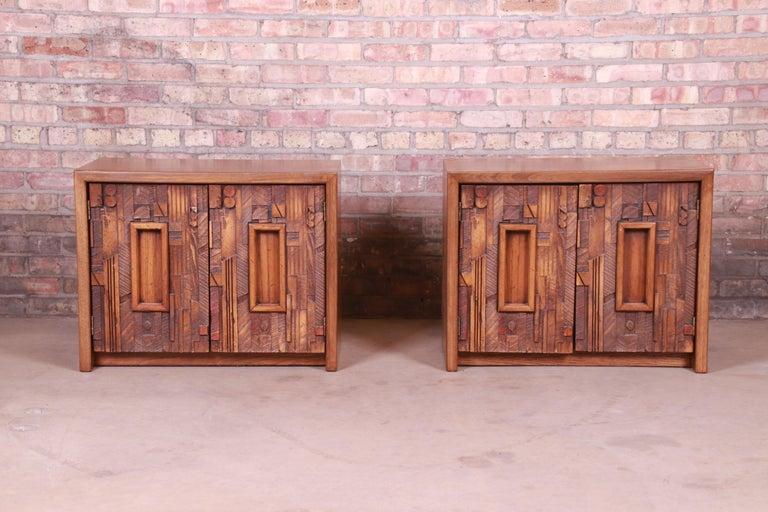 Mid-Century Modern Paul Evans Style Lane Pueblo Brutalist Oak Nightstands, Newly Refinished For Sale