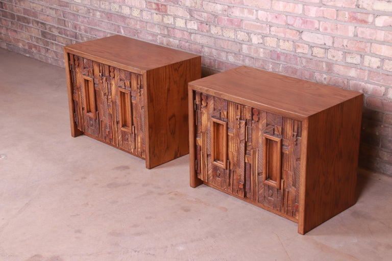 American Paul Evans Style Lane Pueblo Brutalist Oak Nightstands, Newly Refinished For Sale