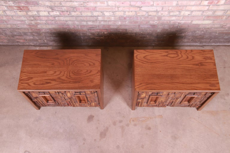 Late 20th Century Paul Evans Style Lane Pueblo Brutalist Oak Nightstands, Newly Refinished For Sale