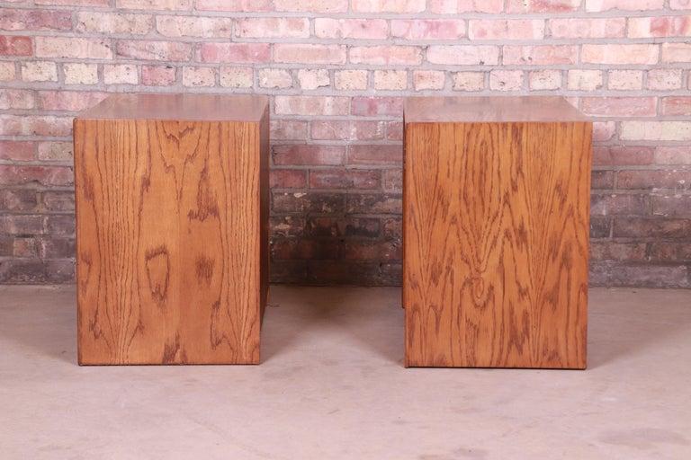 Paul Evans Style Lane Pueblo Brutalist Oak Nightstands, Newly Refinished For Sale 2