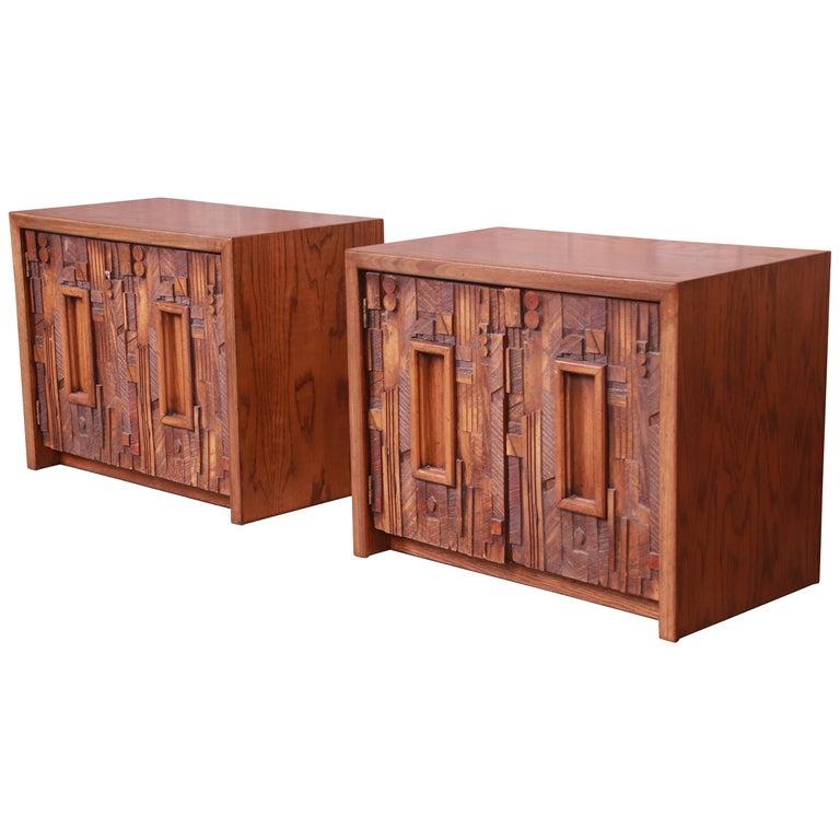 Paul Evans Style Lane Pueblo Brutalist Oak Nightstands, Newly Refinished For Sale