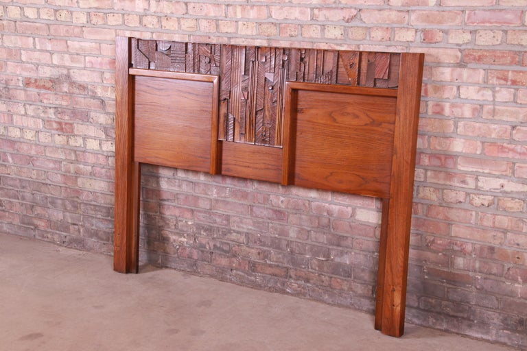 An exceptional Paul Evans style Mid-Century Modern Brutalist queen size headboard  By Lane Furniture