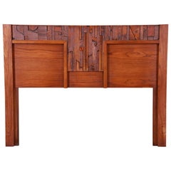 Paul Evans Style Lane Pueblo Brutalist Oak Queen Size Headboard, 1970s