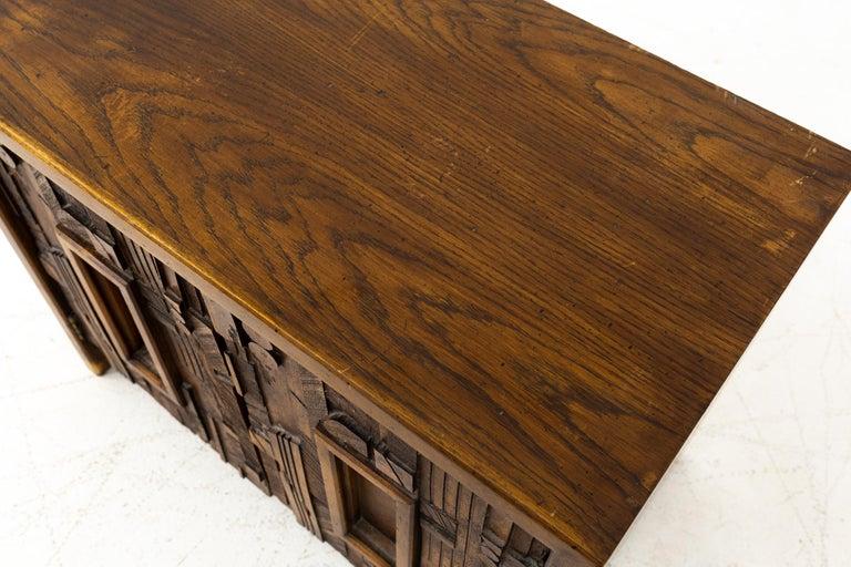 Paul Evans Style Lane Pueblo Mid Century Brutalist Nightstands, Set of 2 For Sale 3