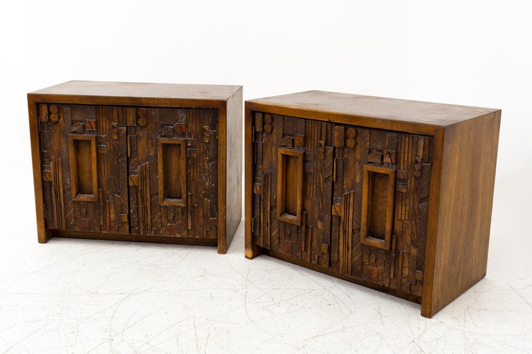 Paul Evans style Lane pueblo mid century Brutalist nightstands - set of 2 These nightstands are 28 wide x 16 deep x 22 inches high  All pieces of furniture can be had in what we call restored vintage condition. That means the piece is restored