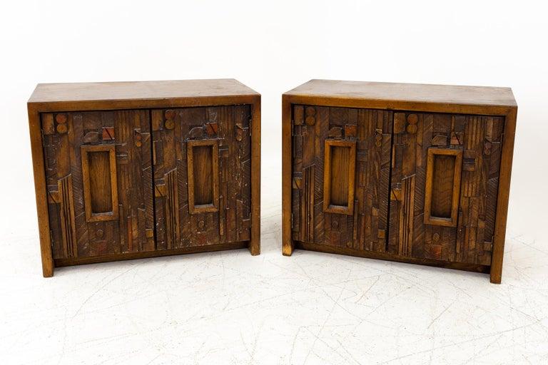 Mid-Century Modern Paul Evans Style Lane Pueblo Mid Century Brutalist Nightstands, Set of 2 For Sale