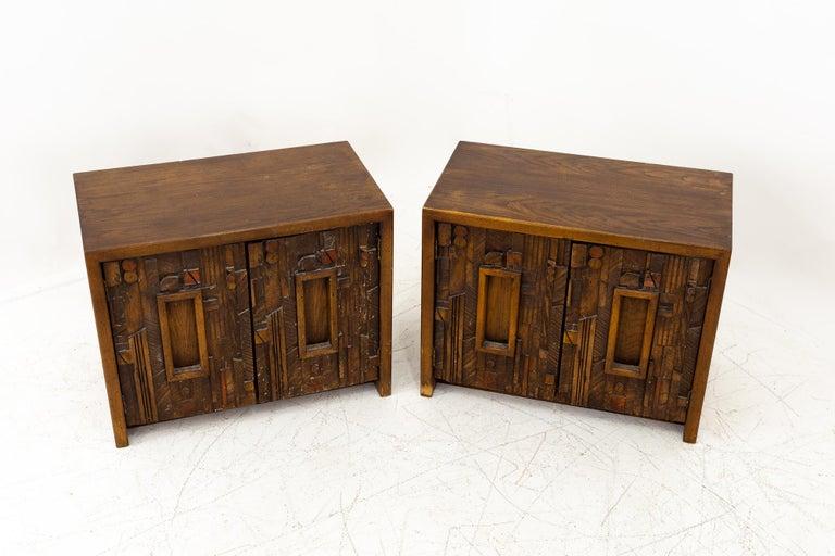 American Paul Evans Style Lane Pueblo Mid Century Brutalist Nightstands, Set of 2 For Sale