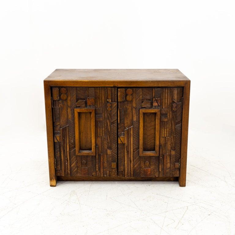 Wood Paul Evans Style Lane Pueblo Mid Century Brutalist Nightstands, Set of 2 For Sale