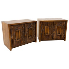 Paul Evans Style Lane Pueblo Mid Century Brutalist Nightstands, Set of 2