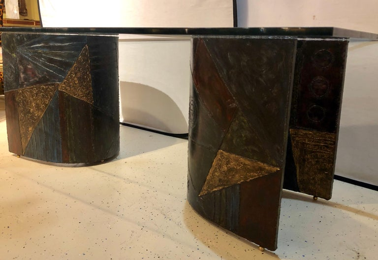 Paul Evans Style Metal 2-Piece Base, Glass Top Dining Conference Table Signed In Good Condition For Sale In Stamford, CT