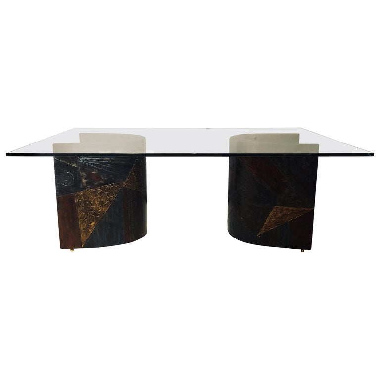 Paul Evans Style Metal 2-Piece Base, Glass Top Dining Conference Table Signed For Sale