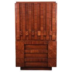 Paul Evans Style Mid-Century Modern Brutalist Walnut Armoire Dresser by Lane