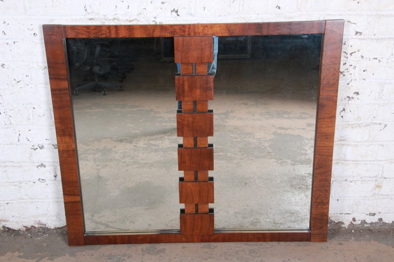 A gorgeous Paul Evans style Mid-Century Modern brutalist walnut double mirror  By Lane Furniture
