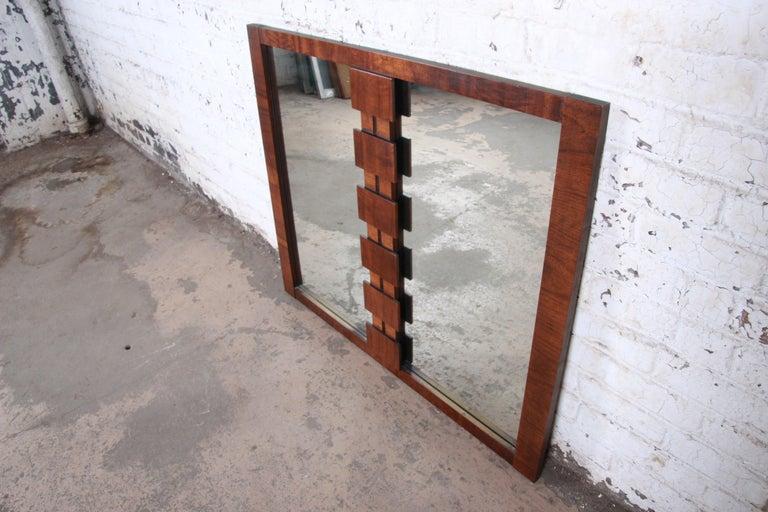 American Paul Evans Style Mid-Century Modern Brutalist Walnut Double Mirror by Lane For Sale