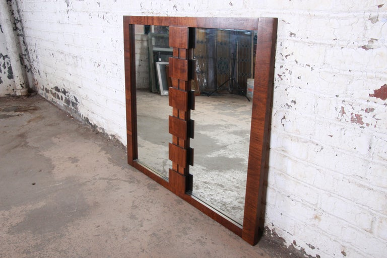 Paul Evans Style Mid-Century Modern Brutalist Walnut Double Mirror by Lane In Good Condition For Sale In South Bend, IN