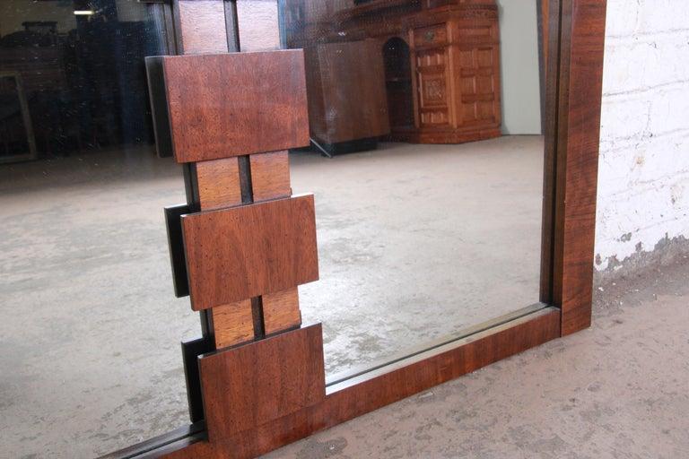Paul Evans Style Mid-Century Modern Brutalist Walnut Double Mirror by Lane For Sale 1