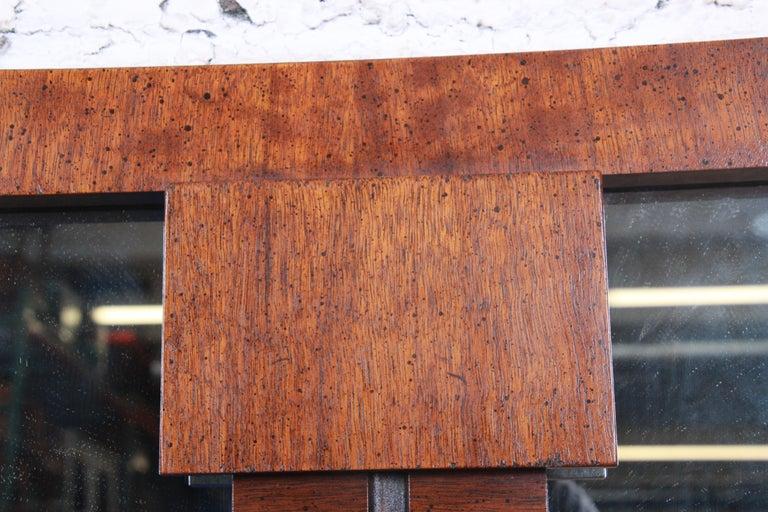 Paul Evans Style Mid-Century Modern Brutalist Walnut Double Mirror by Lane For Sale 2