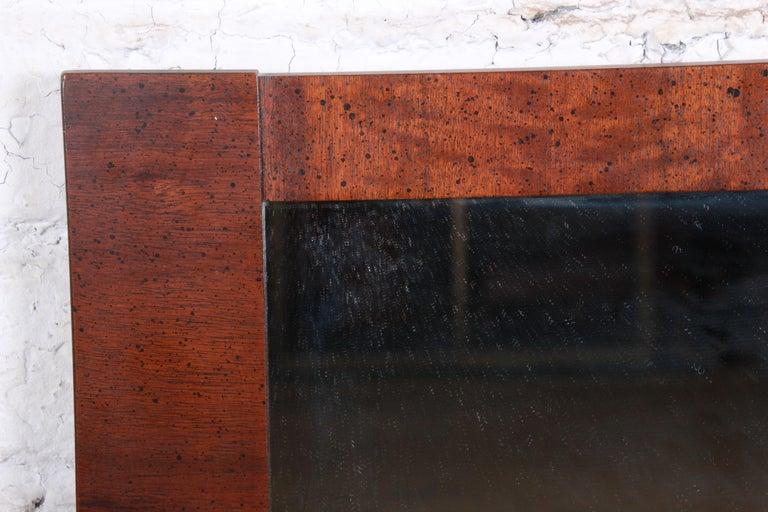 Paul Evans Style Mid-Century Modern Brutalist Walnut Double Mirror by Lane For Sale 3